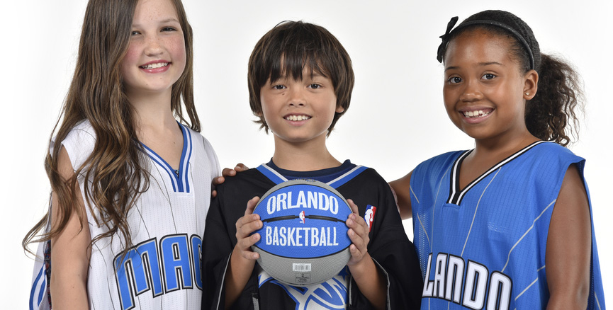 Kids in Orlando Magic jerseys