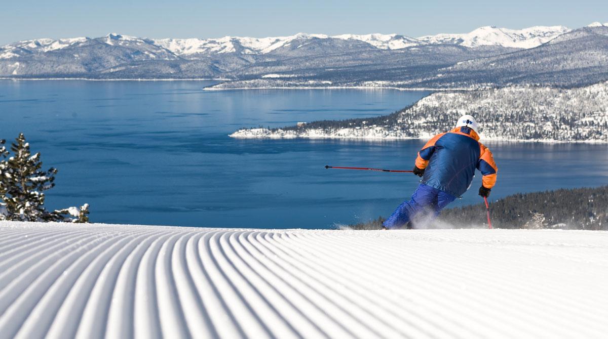 Person skiing in Lake Tahoe